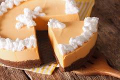 鲜美被切的南瓜乳酪蛋糕宏指令 水平 库存图片
