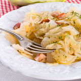 鲜美被炖的圆白菜菜 库存照片