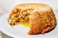 鲜美被烘烤的素食主义者米炸弹软的焦点用米和南瓜-意大利传统食谱 免版税图库摄影
