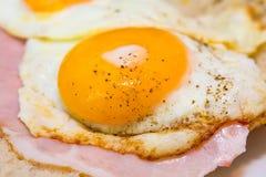 鲜美鸡蛋用火腿 图库摄影