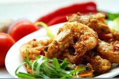鲜美黄油的大虾 免版税库存照片