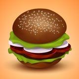鲜美水多的汉堡,传染媒介例证 免版税库存照片