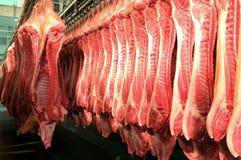 鲜肉在一个冷盘工厂 免版税图库摄影
