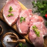 鲜肉 猪肉原始的牛排 图库摄影