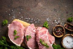 鲜肉 猪肉原始的牛排 库存照片