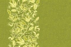 鲜花和叶子垂直的无缝的样式 免版税库存照片