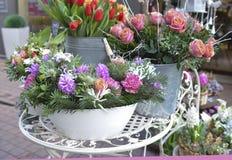 鲜花花束在冬天样式的 图库摄影