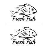 鲜鱼商标标志象标志简单的黑色彩色组10 图库摄影