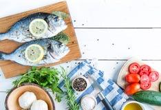 鲜鱼在一张白色桌上的海鲷Dorada 图库摄影