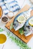 鲜鱼在一张白色桌上的海鲷Dorada 免版税库存照片