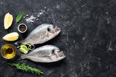 鲜鱼海鲷,草本,香料,橄榄油和烹调成份在石板岩背景 库存照片