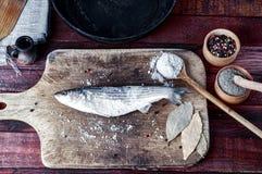 鲜鱼熔炼烹调的香料在厨房板 库存图片