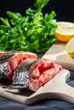 鲜鱼用柠檬和盐 免版税图库摄影
