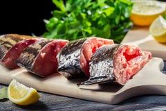 鲜鱼用柠檬和盐 图库摄影