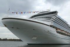 鲜绿色公主游轮在布鲁克林巡航终端靠了码头 免版税库存图片