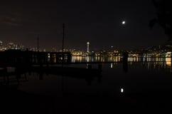 鲜绿色城市在晚上 库存照片