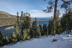 鲜绿色海湾国家公园,太浩湖在雪盖了 免版税库存照片