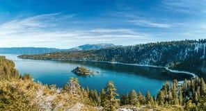 鲜绿色海湾在冬天 免版税库存照片