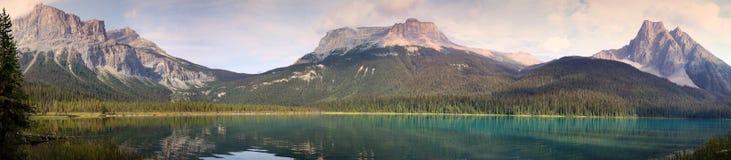 鲜绿色湖全景在晚上 免版税库存照片