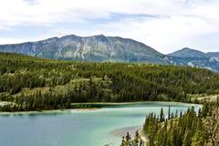 鲜绿色湖在育空在加拿大 免版税库存照片