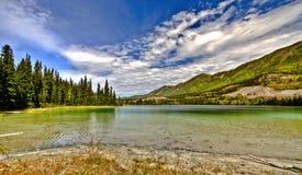 鲜绿色湖在育空在加拿大 库存照片