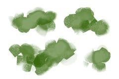 鲜绿色的水彩绘了污点被设置 免版税库存照片