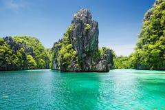 鲜绿色盐水湖(El Nido,菲律宾) 免版税库存照片