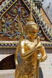 从鲜绿色菩萨寺庙的金黄角度  图库摄影