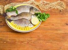 鲤鱼和crucians为烹调在盘做准备 图库摄影