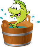 鲤鱼鱼在木盆嬉水与水的传染媒介 库存照片