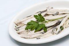 鲥鱼盘子与荷兰芹油的 免版税库存图片