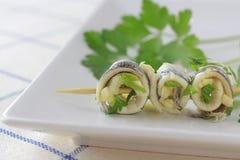 鲥鱼西班牙塔帕纤维布醋 在醋的鲥鱼 免版税库存照片