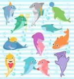 鲨鱼传染媒介微笑与锋利的牙齿例证套的动画片海水鱼朋友渔场字符有礼物的在愉快 向量例证