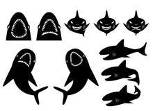 鲨鱼剪影的汇集在动画片样式的 免版税库存图片