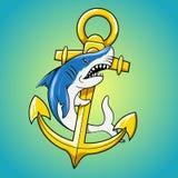 鲨鱼和船锚动画片传染媒介例证 库存照片