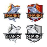 鲨鱼商标集合 动物猎人象征,公司烙记的形状,传染媒介例证 免版税库存图片