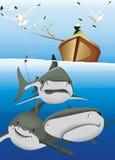鲨鱼小船上面的一位渔夫  免版税库存图片