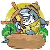 鲨鱼演奏吉他设计的动画片吉祥人 向量例证