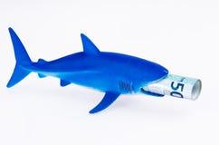 鲨鱼玩具和金钱 免版税库存图片