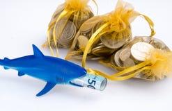 鲨鱼玩具和金黄囊 免版税库存图片