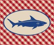 鲨鱼的葡萄酒例证 库存图片