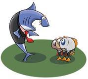 鲨鱼的院长发誓在他的下级小鱼 免版税图库摄影