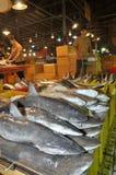 鲨鱼等待购买在Binh Dien批发夜海鲜市场,最大一个上在胡志明市,越南 图库摄影