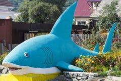 鲨鱼雕塑 免版税库存图片