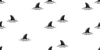 鲨鱼飞翅无缝的样式海豚隔绝了鲸鱼海浪海海岛海滩墙纸背景 皇族释放例证
