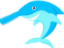 鲨鱼鼻子锯动画片 图库摄影