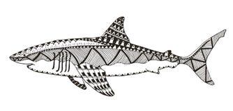 鲨鱼zentangle传统化了,导航,例证,样式, freehan 免版税库存图片