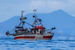 鲭鱼勾子线捕鱼船 库存照片