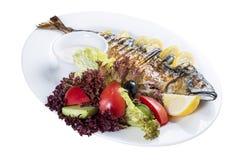 鲭鱼烘烤用柠檬 在一块白色板材上 库存照片