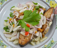 鲭鱼鱼顶部用切的在白色背景隔绝的青葱和辣椒 免版税库存图片